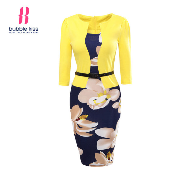"Women Office Dress Ladies Bodycon Sexy Casual Print ""+Shiriza.com + Spring + Summer""  Floral Pencil Fake Two Piece Belt Casual vestido Dress robe"