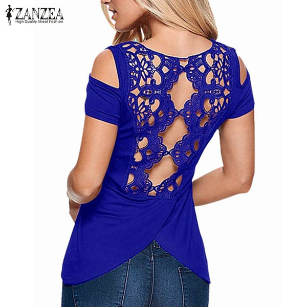 Hollow Backless Off Shoulder  Retro Lace Short Sleeve Blouse