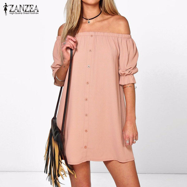 "New Ladies Sexy Off Shoulder Mini Party Dress ""+Shiriza.com + Spring + Summer"" Casual Loose Half Sleeve Strapless Dresses Long Tops"