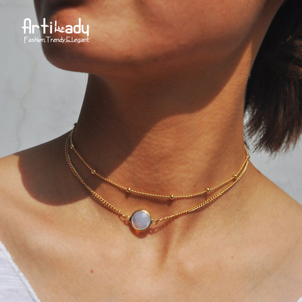 Fashion Women Artilady natural crystal 2 layer choker necklace +Shiriza.com  gold color opal stone pendant necklace for women jewelry