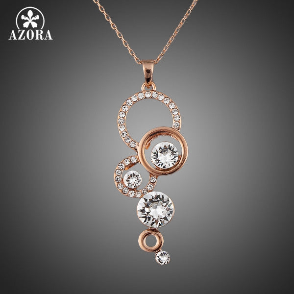 AZORA Rose Gold Color Pure Clear +Shiriza.com  Simply Small Round 1 carat Cubic Zirconia Pendant Necklace