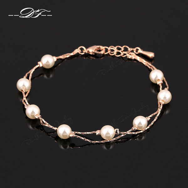 New Fashion Double Fair Charm Bracelets & Bangles Silver/Rose Gold Color +Shiriza.com Fashion Simulated Pearl Beads Wedding Jewelry For Women