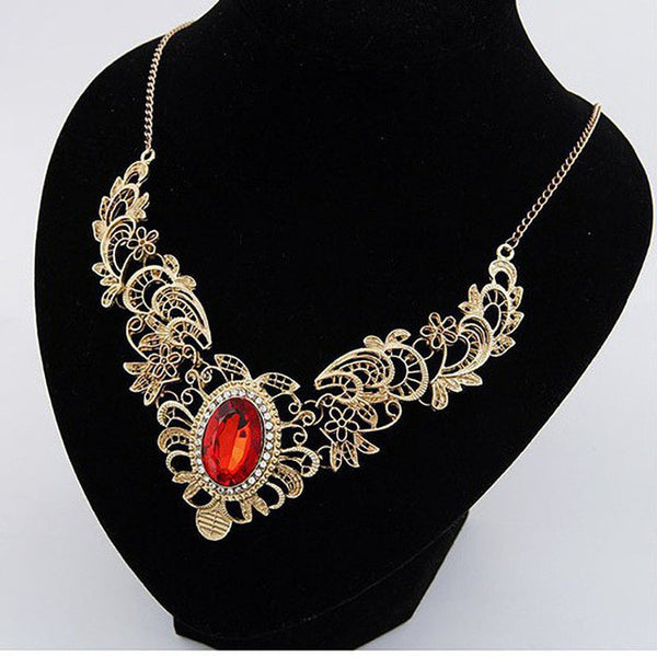 Match-Right Hollow Out Crystal Statement Necklace Women Vintage Necklaces & Pendants Jewelry Colar For Gift Party