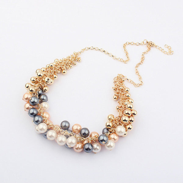 New Hot Sell Simulated Pearl Jewelry +Shiriza.com Trendy Women Necklaces & Pendants  Short Chokers Statement Necklace