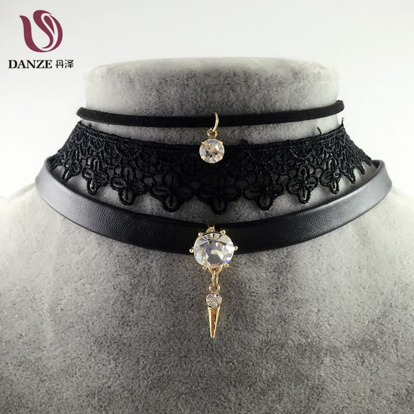 Danze Punk Crystal Stone Pendant Leather Necklace Collares +Shiriza.com  Vintage Sexy Lace Choker Necklace Fashion Jewelry For Women 2017