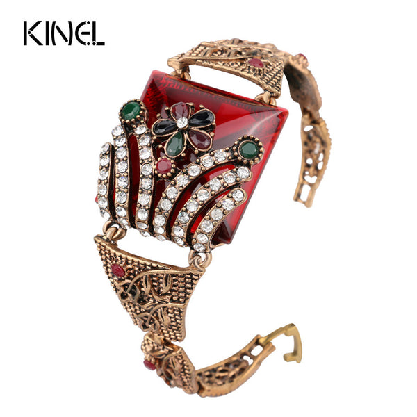 Kinel Vintage Jewelry Red Big Bracelet For Women +Shiriza.com Antique Gold Color Colorful Resin Turkish Bracelets Bijouterie 2017 New
