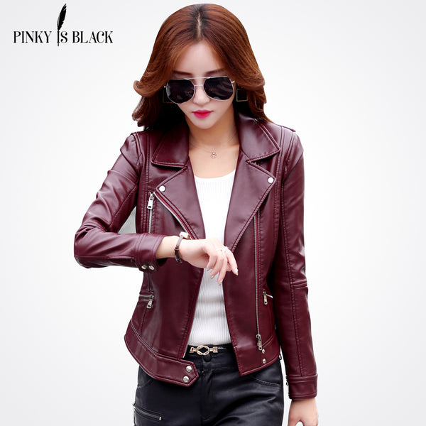 "Trendy Fashion Ladies Leather Coat ""+Shiriza.com"" Female Slim Short Leather Jacket Women's Outerwear"