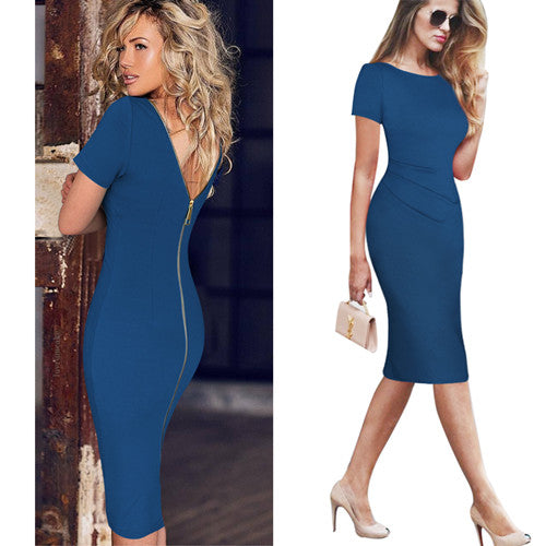 "Ladies Elegant Ruched Sexy V Back Zipper Vintage""+Shiriza.com""  Casual Wear to Work Office Business Party Club Bodycon Pencil Dress 6268"