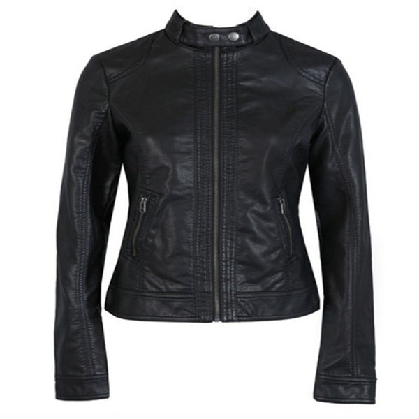"Ladies Pimkie washed PU leather motorcycle jacket ""+Shiriza.com"" Slim autumn female short paragraph leather all sizes"
