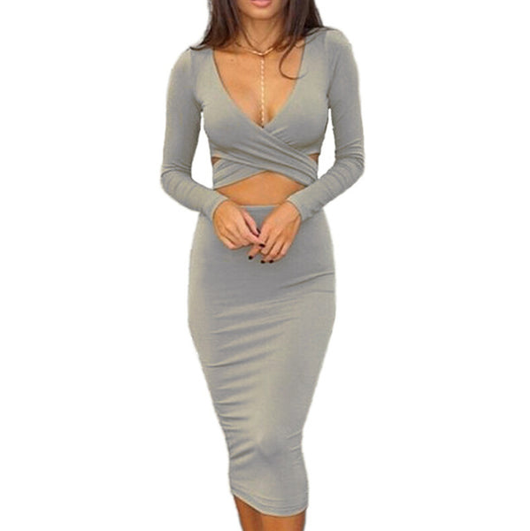 Sexy long-sleeved Bodycon Dresses with cut-outs - Shiriza.com