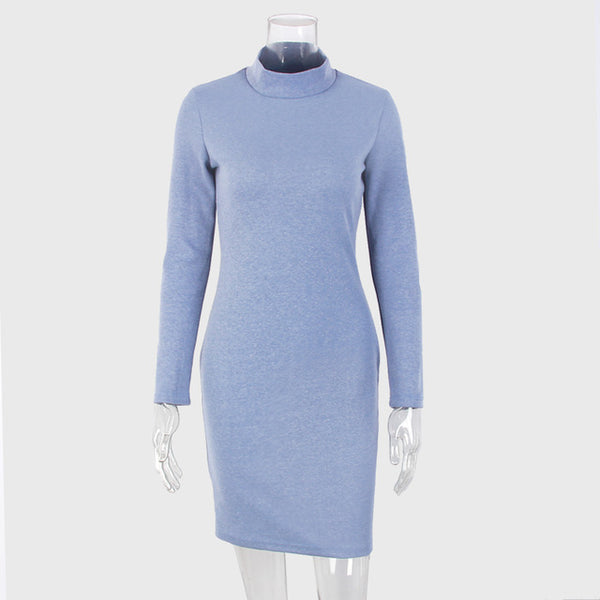 Blue Bodycon Long Sleeve Turtleneck Dress
