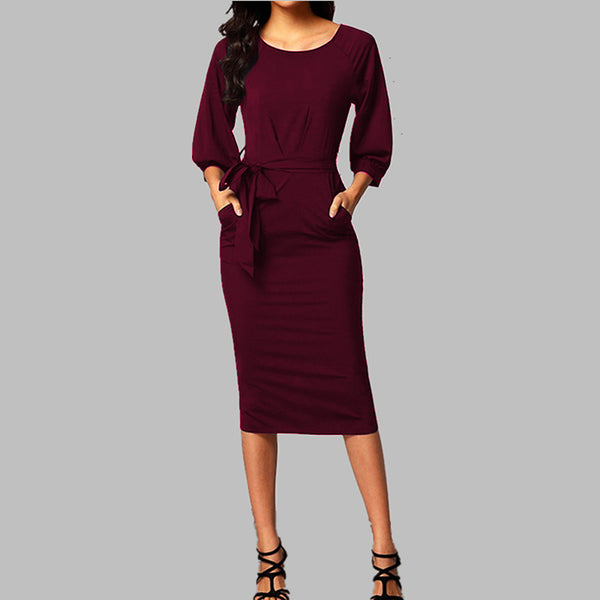 Elegant Corporate Dress with a belt. Perfect work dress!