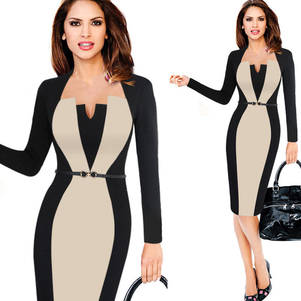 "Ladies Elegant Optical Illusion Patchwork Contrast Belted ""+Shiriza.com"" Vintage Slim Work Office Business Party Bodycon Dress"