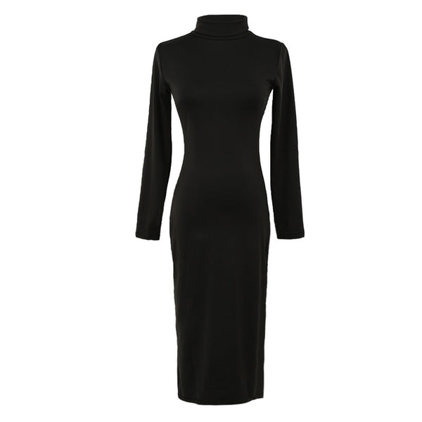 "Ladies Sexy Club Dress Turtle Neck Long Sleeve Dress  ""+Shiriza.com"" Pencil Dress Slim Hip Bandage Bodycon Dress Vestidos Clubwear"