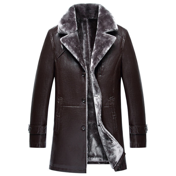 Fashion Men's jacket Quality Men's PU Leather Jacket Plus Velvet Thicken In the Long Section