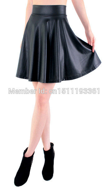 "Ladies new high waist faux leather skater flare skirt  ""+Shiriza.com + Spring + Summer"" mini skirt above knee solid color skirt S/M/L/XL"