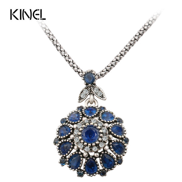 Quality LAdies Gorgeous Bohemia Vintage Jewelry Fashion Resin +Shiriza.com Silver -Plated Women For Pendant Long Necklace Crystal Gifts