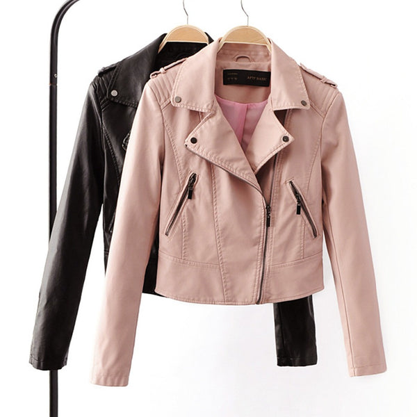 "Ladies Brand Motorcycle PU Leather Jacket Women  ""+Shiriza.com + Spring + Summer"" New Fashion Coat 4 Color Zipper Outerwear jacket New 2017 Coat HOT"