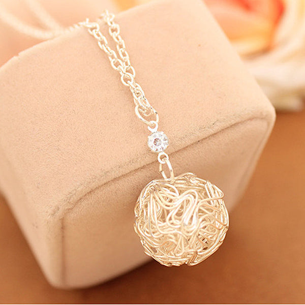 Hot New Fashion Silver Plated Hollow Ball Pendants Necklaces +Shiriza.com  Chain For Women Jewelry colar bijoux