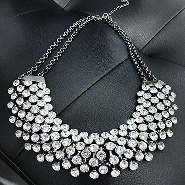 Collier Femme Trendy Crystal Statement Necklaces Pendants Women +Shiriza.com Fine Jewelry Multi layer Link Chain Necklace Bijoux Colares