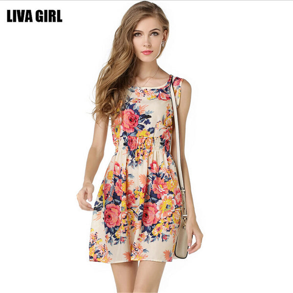 "New Fashion Ladies Style Dress Casual Mini O-Neck Sleeveless ""+Shiriza.com + Spring + Summer""  Short A Line Dress Printed Party Evening Elegant Dress"