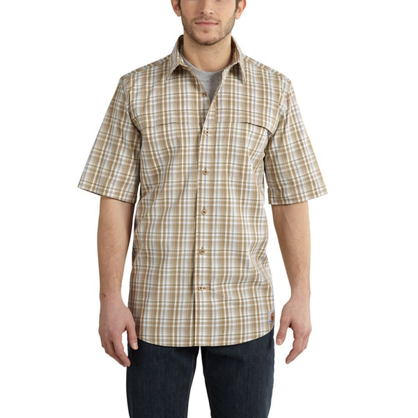 Carhartt Men's Force Mandan Khaki Plaid SS Shirt
