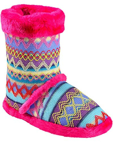 Blazin Roxx Girls Colorful Woven Slippers Booties Pink Faux Fur, Sizes Youth and Infant