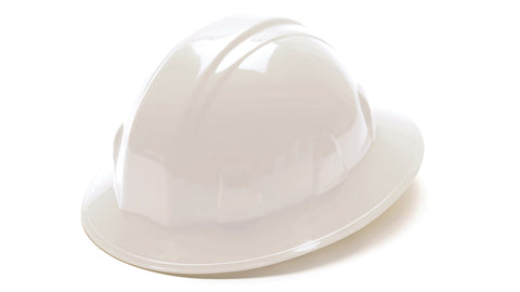 Full Brim White Hard Hat with Ratchet