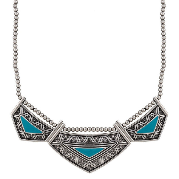 Necklace - Anti Silver TQ Aztec Collar