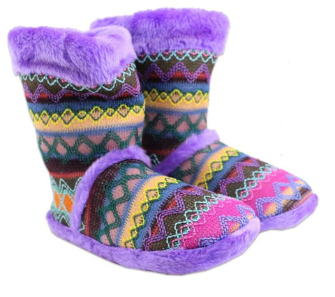Blazin Roxx Aztec Embroidery Slippers, Purple Faux Fur, Microfiber, Infant and Youth Sizes
