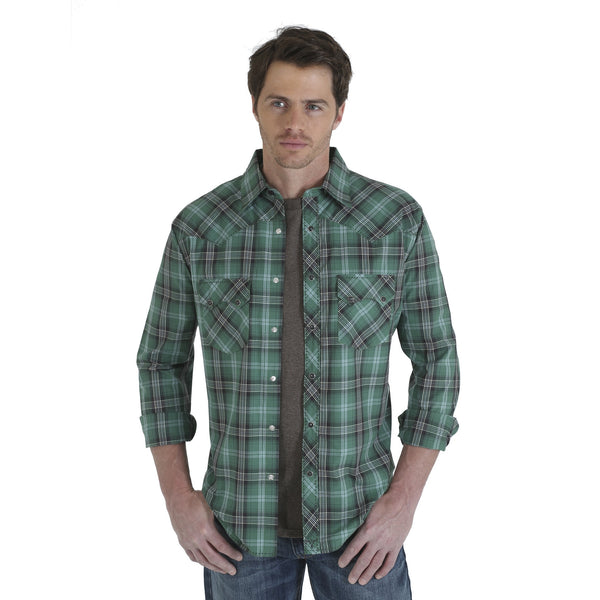 Wrangler Men's 20X Western Snap Shirt - Green