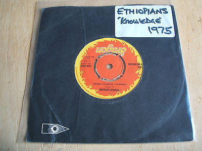 "the etheopians knowledge is power 1975 uk dragon label  original  7"" vinyl 45"
