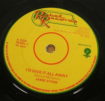 "jamie stone i'd give it all away 1978 uk rebel label 7"" vinyl 45 obscure rare"