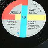 "gang of four to hell with poverty 1981 original  uk issue 12"" vinyl ep"