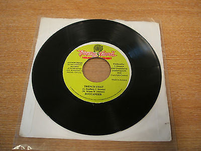 "buccaneer trench coat jamaican young blood label 7"" vinyl 45  reggae"