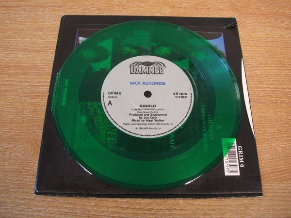 "the damned gigolo  7"" green vinyl + fold out poster sleeve grim 6 mint - gothic"