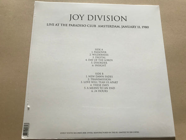 Copy of Joy Division ‎– Live At The Paradiso Club Amsterdam, January 11, 1980 vinyl lp
