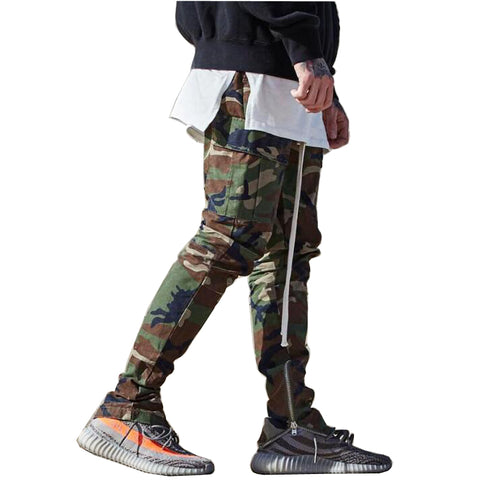 Camo Track Pants With Zippers