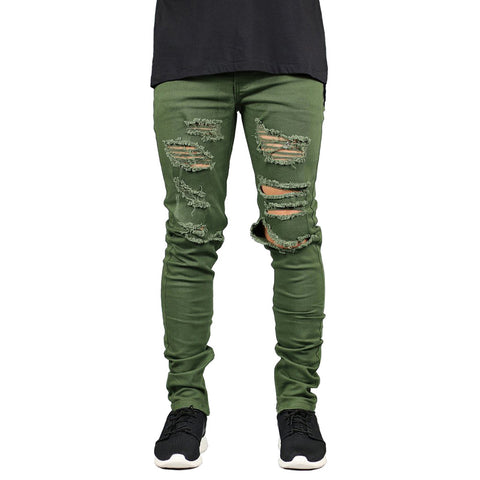 Army Green Ripped Denim - Topshelf7