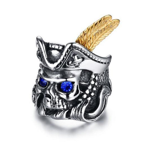 Pirate Skull Ring with Gold Feather