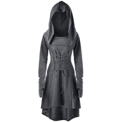 Hooded Tunic High Low Dress with Front and Back Lacing