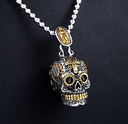 Classic Carving Sugar Skull  Necklace