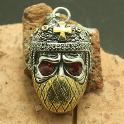 Golden Cross Red-Eye Ninja Skull Pendant