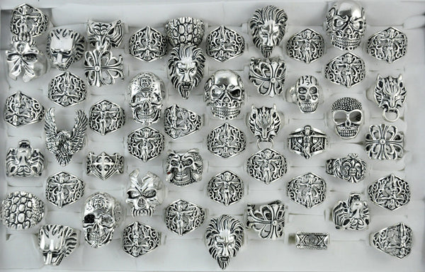 Blow Out Wholesale 50pc Goth, Punk, & Skull Ring Assortment