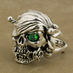 925 Sterling Silver Patch Eye Pirate Skull Ring with Rose