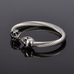 Antique Silver Stainless Steel Skull  Bracelet