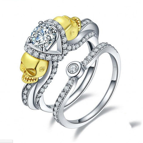 Woman's Diamond Engagement Skull Ring Set