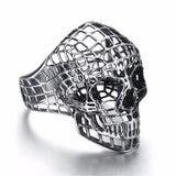 Expanded Metal Stainless Steel Hollow Skull Ring