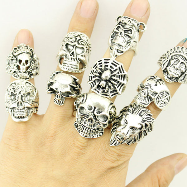 Mixed 30pcs Gothic, Punk, Skull Ring Assortment Wholesale Lot