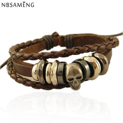 SLIM LINE LEATHER SKULL BRACELET